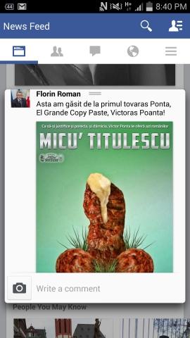 Screenshoot postare Roman fb mici-obscen