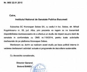 Kronospan Sebes adresa minister